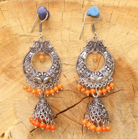 German Silver Chandibali Earring Jhumkas Orange