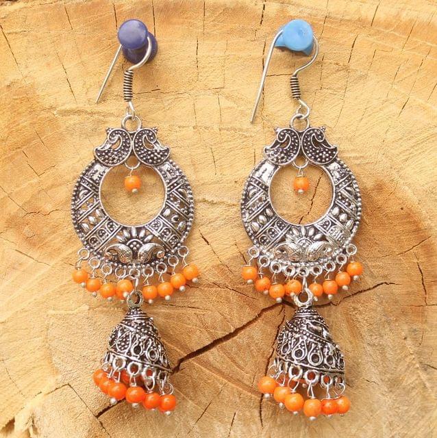 German Silver Chandibali Earring Jhumkas Orange