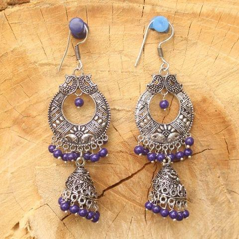 German Silver Chandibali Earring Jhumkas Blue