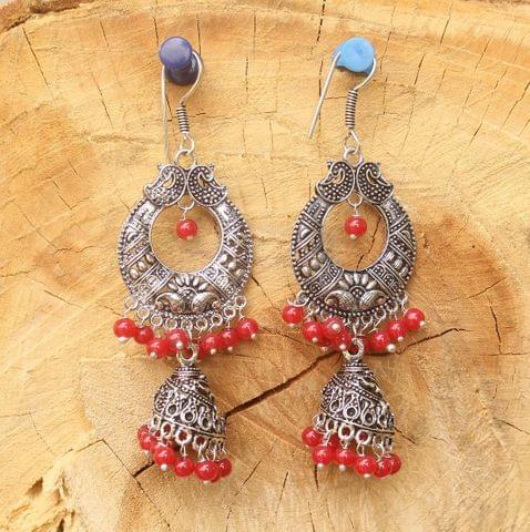 German Silver Chandibali Earring Jhumkas Red