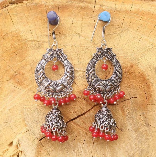 German Silver Chandibali Earring Jhumkas Red