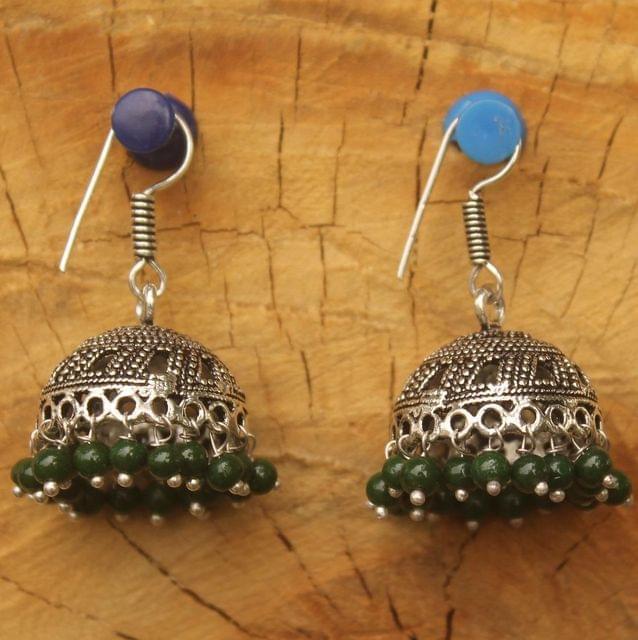 German Silver Beads Hanging Jhumki Green