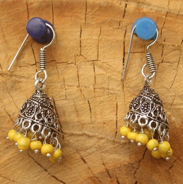 German Silver Beads Hanging Jhumki Yellow