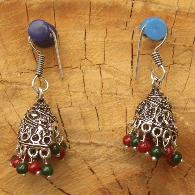 German Silver Beads Hanging Jhumki Multicolor