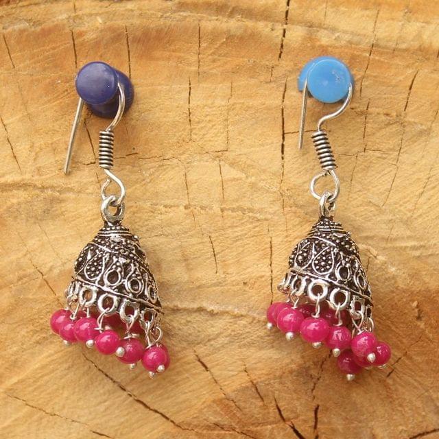 German Silver Beads Hanging Jhumki Magenta