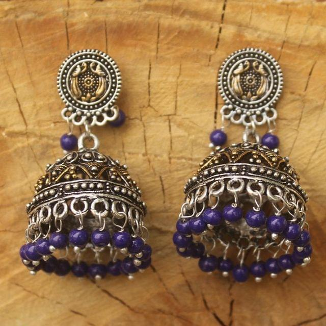 German Silver Beads Hanging Double Tone Jhumki Blue