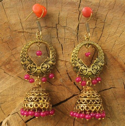 German Silver Beads Hanging Jhumka Earring Magenta