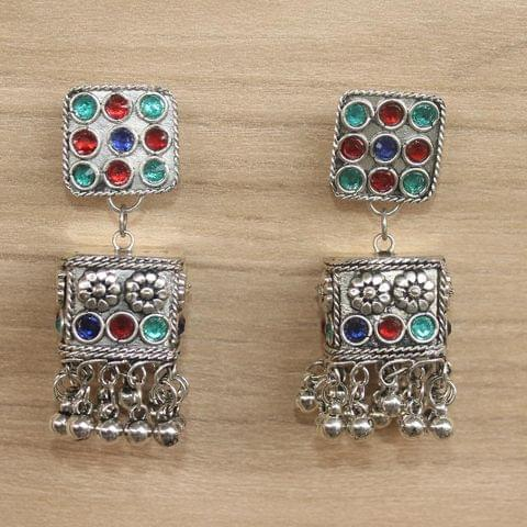 German Silver Cube Shape Jhumki Multicolor