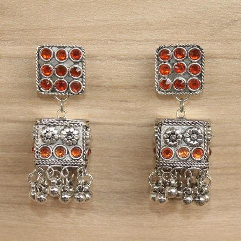 German Silver Cube Shape Jhumki Orange