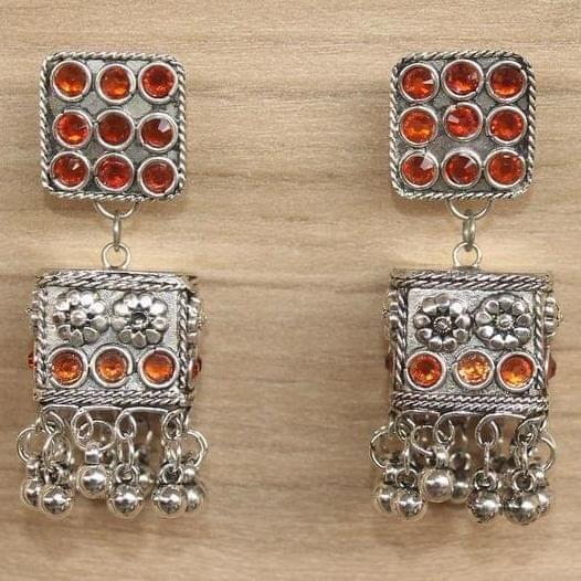 German Silver Cube Shape Jhumki Orange