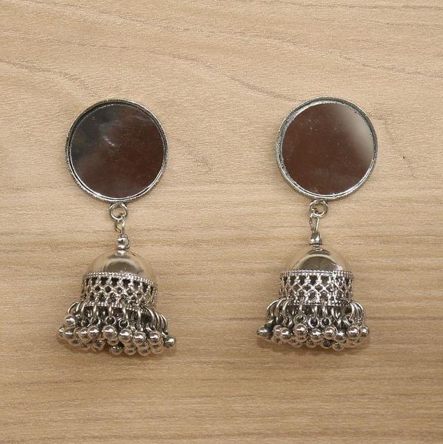German Silver Mirror Jhumki