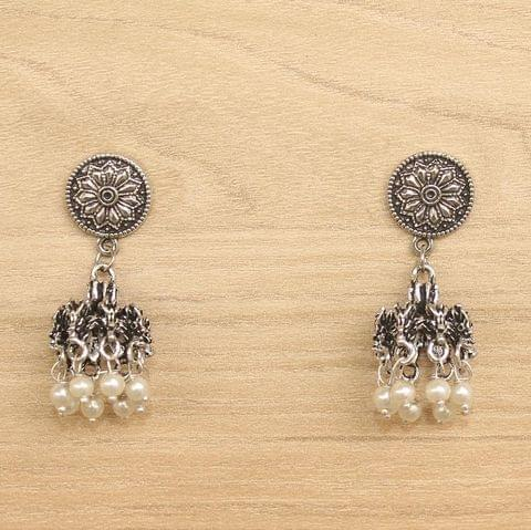 German Silver Beads Hanging Jhumki White