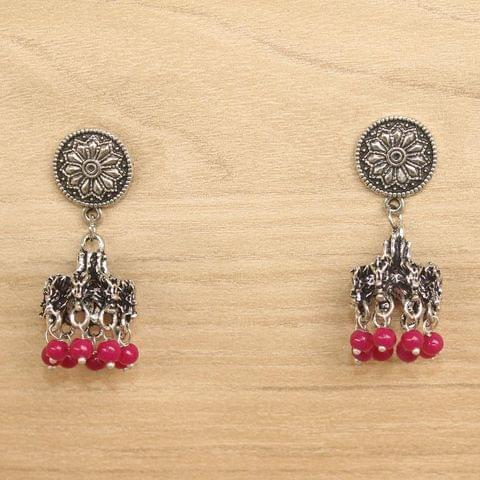 German Silver Beads Hanging Jhumki Pink