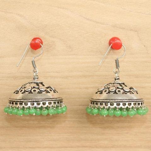 German Silver Beads Hanging Jhumki Parrot Green