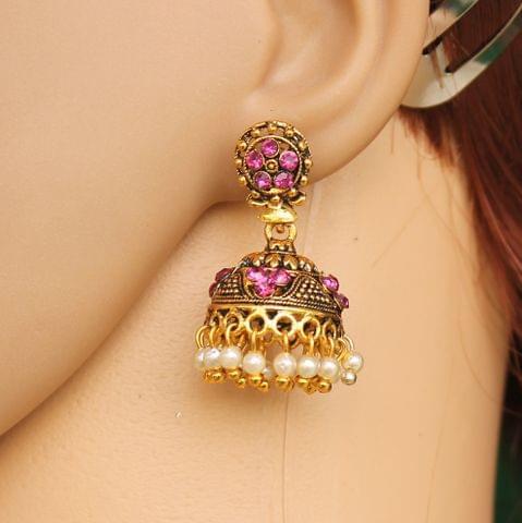 Meenakari Jhumka Earrings White