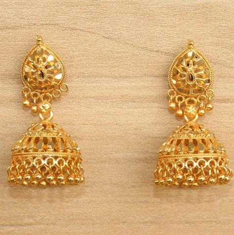Meenakari Jhumka Earrings Golden