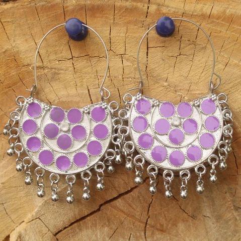 German Silver Meenakari Chandibali Earring Purple