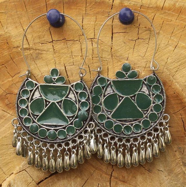 German Silver Meenakari Chandibali Earring Dark Green