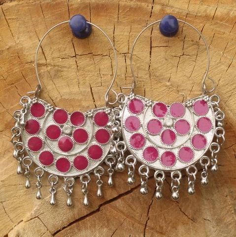 German Silver Meenakari Chandibali Earring Hot Pink