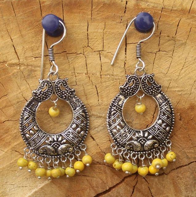 German Silver Chandibali Earring Yellow