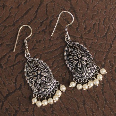 German Silver Beads Hanging Earring White