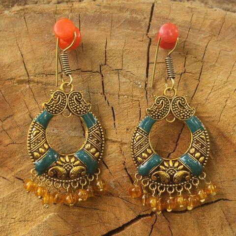 German Silver Beads Hanging Chandbali Earring