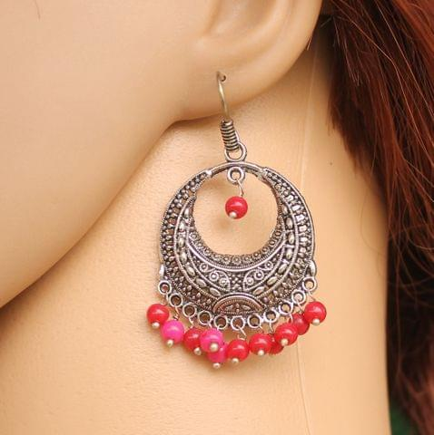 German Silver Beads Hanging Chandbali Earring Red