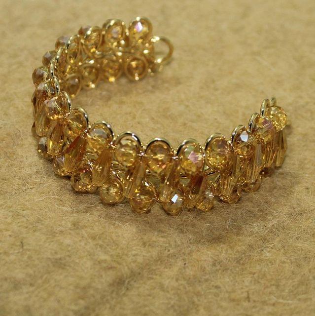 Designer Faceted Crystal Beaded Bracelets Golden