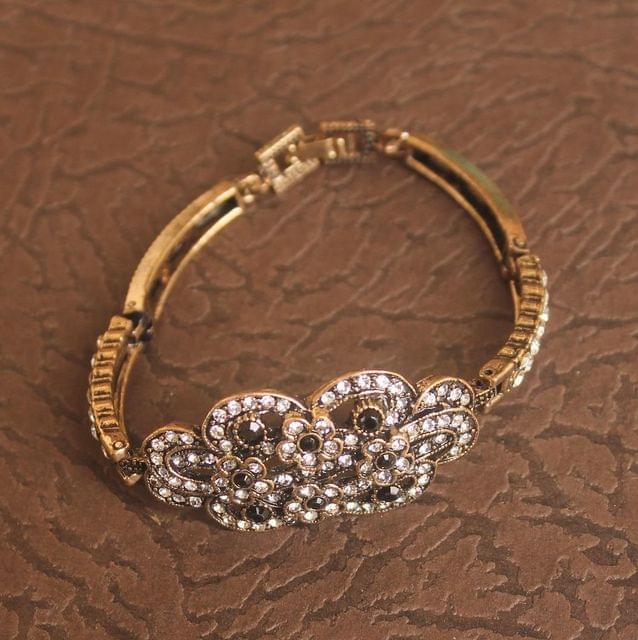 German Silver Stone Bracelet Black