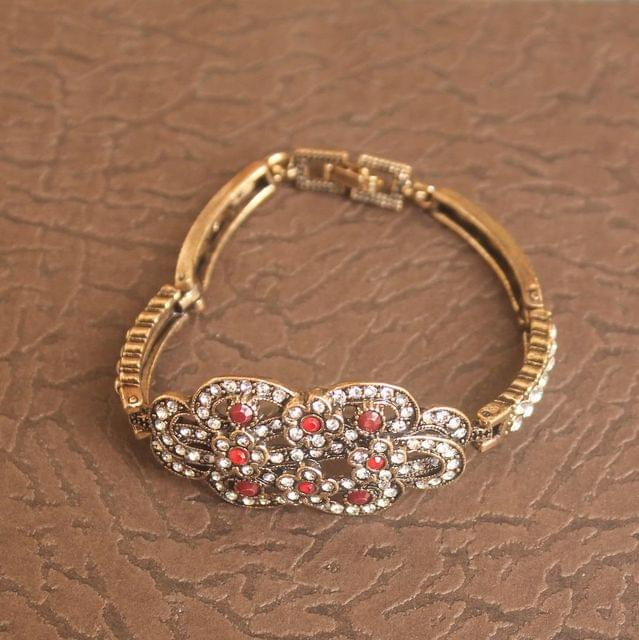 German Silver Stone Bracelet Red