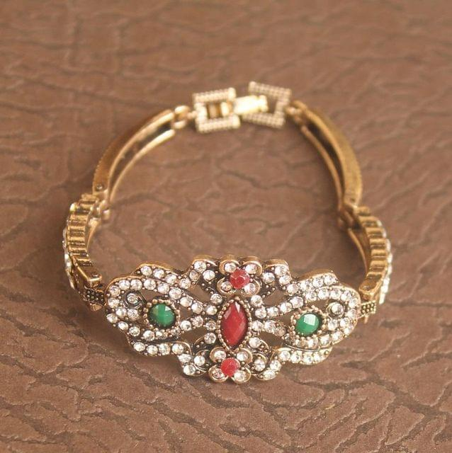 German Silver Stone Bracelet Multicolor