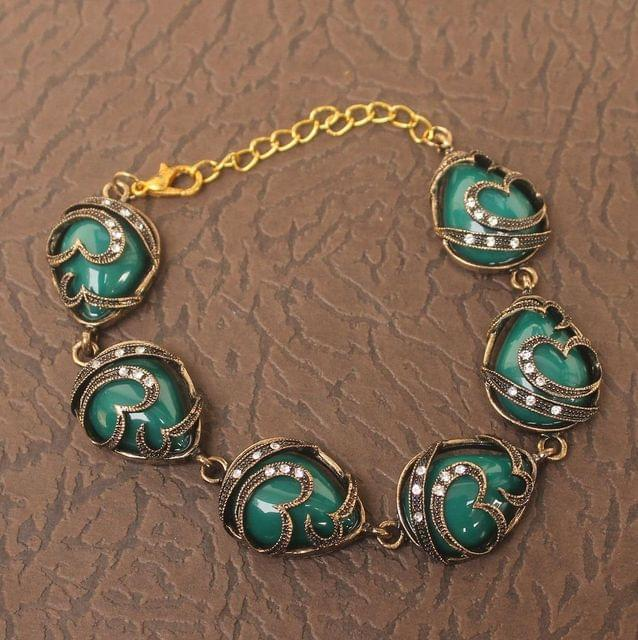 German Silver Tready Stone Bracelet Green