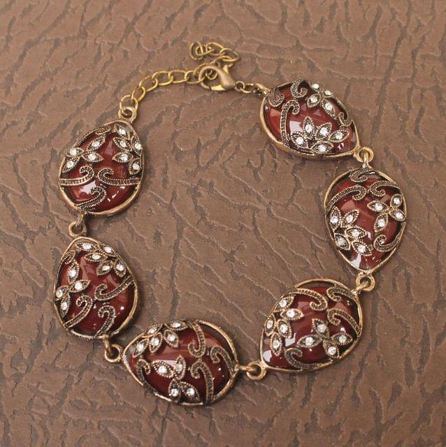 German Silver Tready Stone Bracelet Red