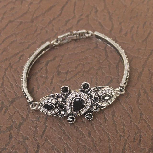 German Silver Tready Stone Bracelet Black