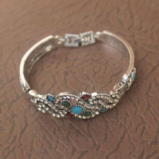 German Silver Tready Stone Bracelet Turquoise