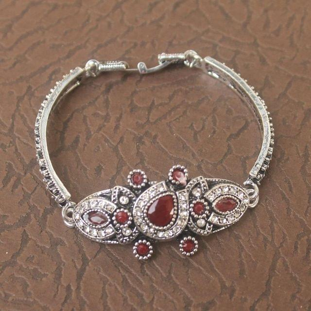 German Silver Tready Stone Bracelet Red