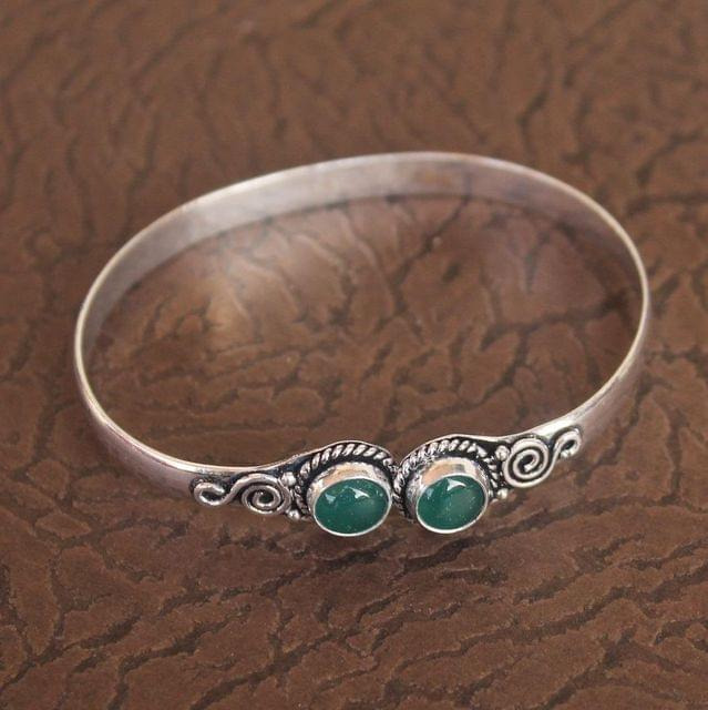 German Silver Stone Kada Green