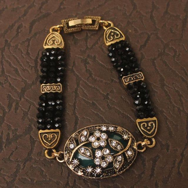 German Silver Tready Beaded Stone Bracelet Black