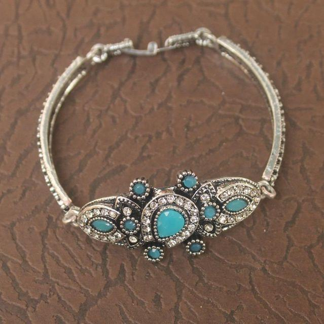 German Silver Tready Stone Bracelet Turquoise