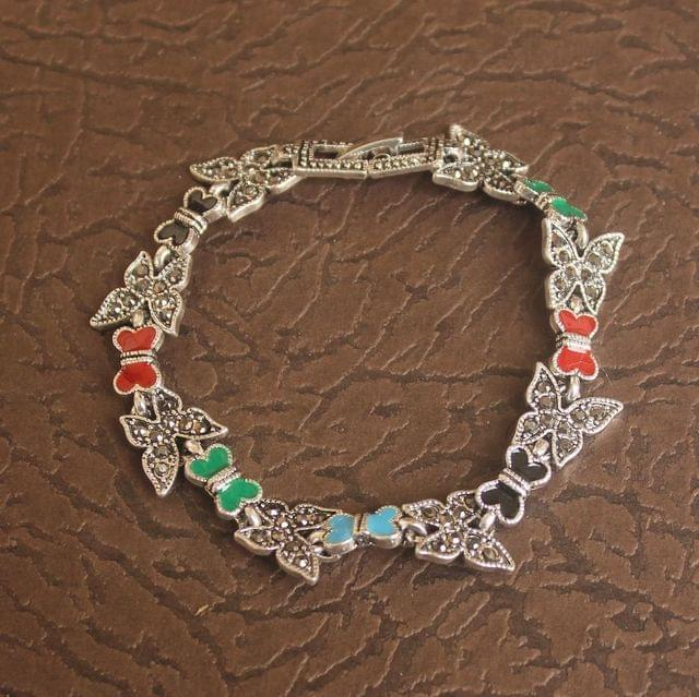 German Silver Stone Bracelet Multicolor