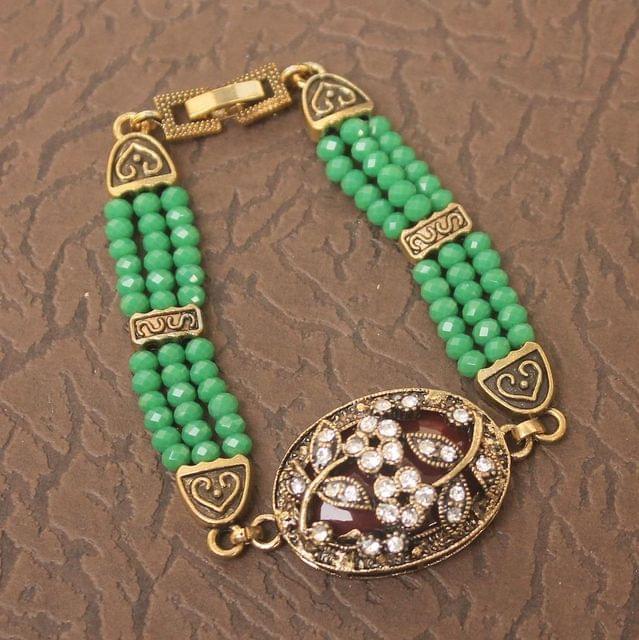 German Silver Tready Beaded Stone Bracelet Green