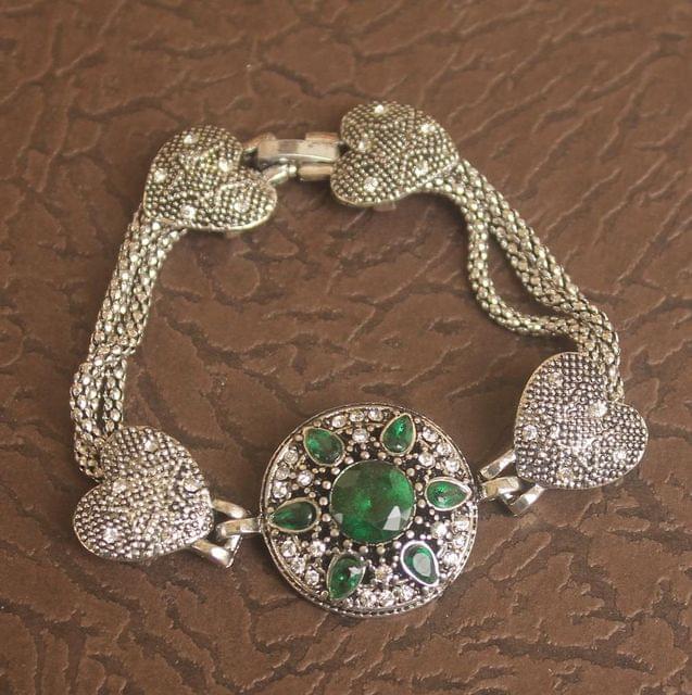 German Silver Stone Bracelet Green