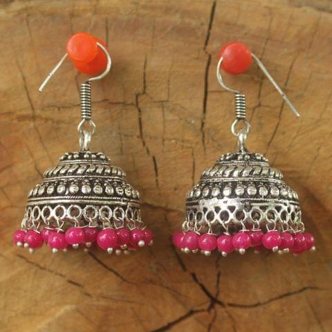 German Silver Beads Hanging Jhumka Magenta