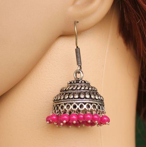 German Silver Beads Hanging Jhumka Magenta