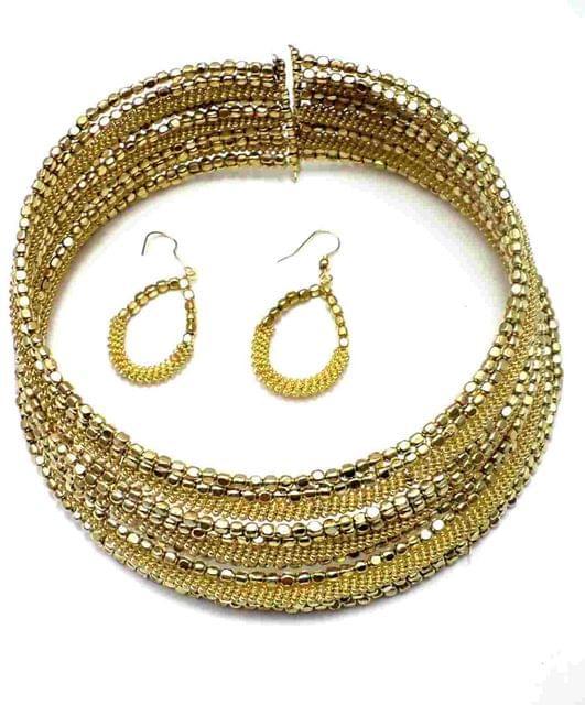 Metal Beaded Choker Necklace For Girls Golden