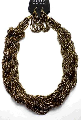 Seed Beads Beaded Necklace For Girls Golden
