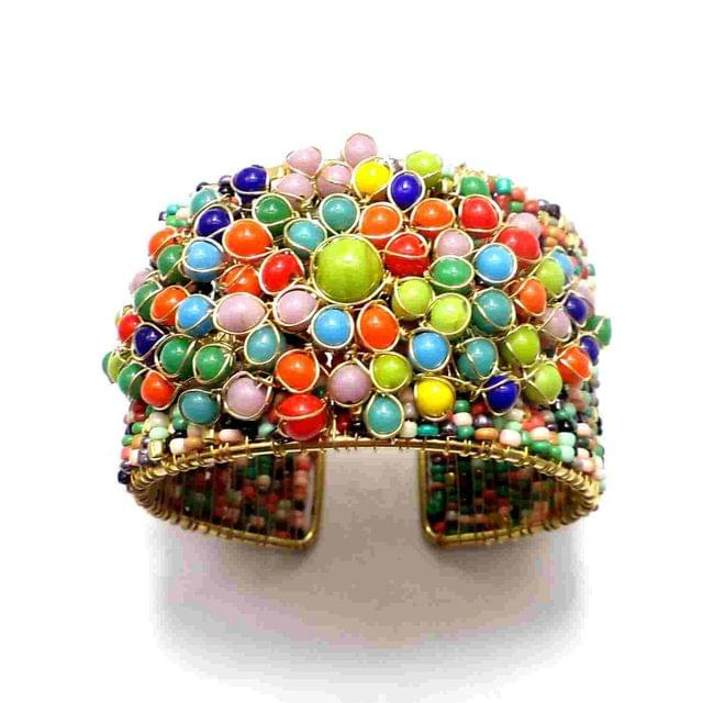 Metal and Seed Beads Beaded Multicolor Bracelet For Girls