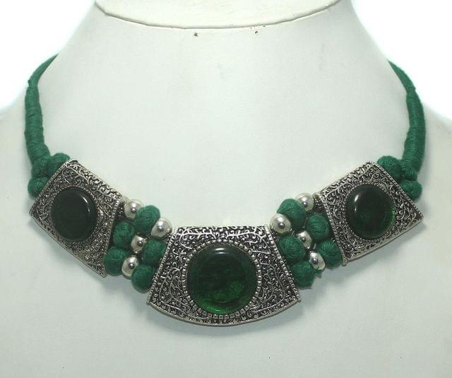 German Silver Choker Necklace Green