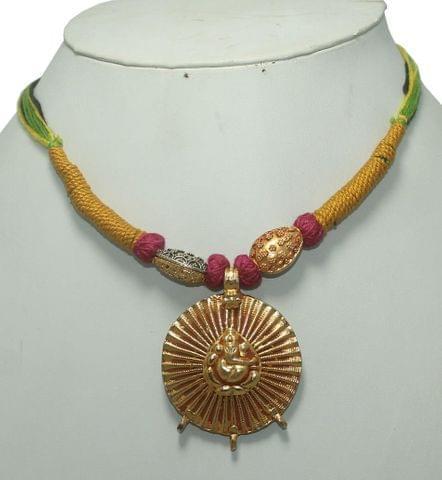German Silver Necklace Ganesha Multi Color