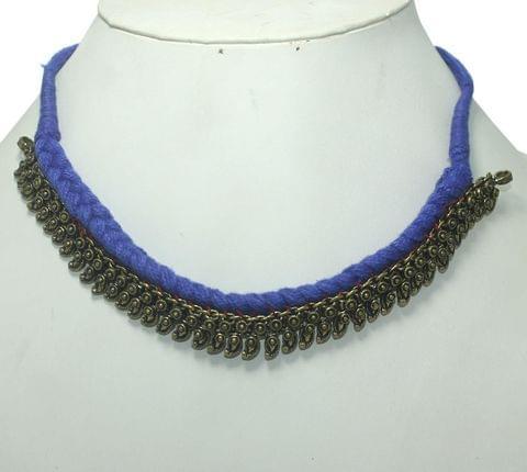 German Silver Choker Necklace Blue